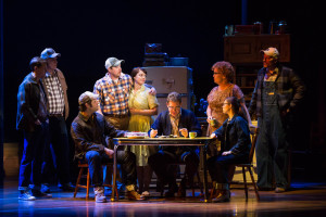 "L-R: Dave Thomas Brown, Tom Treadwell, Cole Burden, Cullen R. Titmas, Elizabeth Stanley, David Hess, Mary Callanan, Caitlin Houlahan and Matt Stokes in the Tony Award-winning ""The Bridges of Madison County"" The Broadway Musical at the Center Theatre Group/Ahmanson Theatre, December 8, 2015, through January 17, 2016. ""Bridges"" has a book by Marsha Norman, music and lyrics by Jason Robert Brown and is based on the novel by Robert James Waller. Bartlett Sher directs. Tickets are available at CenterTheatreGroup.org or by calling (213) 972-4400.   Contact: CTG Media and Communications / (213) 972-7376 CTGMedia@centertheatregroup.org  Photo by Matthew Murphy"