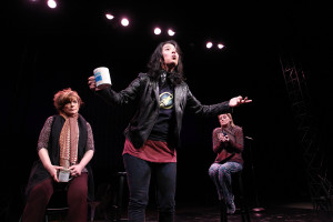 """South Coast Repertory presents the world premiere of """"The Madwoman in the Volvo"""" by QSandra Tsing Loh, directed by Lisa Peterson. Cast: Caroline Aaron (Actress A), Shannon Holt (Actress B) and Sandra Tsing Loh (Sandra). Julianne Argyros Stage, January 3-24, 2016"""