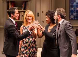 "L-R: Hari Dhillon, Emily Swallow, Karen Pittman and J Anthony Crane in Ayad Akhtar's Pulitzer-winning play ""Disgraced,"" which plays at Center Theatre Group/Mark Taper Forum at the Los Angeles Music Center June 8 through July 17, 2016. For tickets and information, please visit CenterTheatreGroup.org or call (213) 628-2772. Contact:  CTG Media and Communications/ (213) 972-7376/CTGMedia@ctgla.org Photo by Craig Schwartz."
