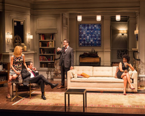"L-R: Emily Swallow, Hari Dhillon, J Anthony Crane and Karen Pittman in Ayad Akhtar's Pulitzer-winning play ""Disgraced,"" which plays at Center Theatre Group/Mark Taper Forum at the Los Angeles Music Center June 8 through July 17, 2016. For tickets and information, please visit CenterTheatreGroup.org or call (213) 628-2772. Contact:  CTG Media and Communications/ (213) 972-7376/CTGMedia@ctgla.org Photo by Craig Schwartz."